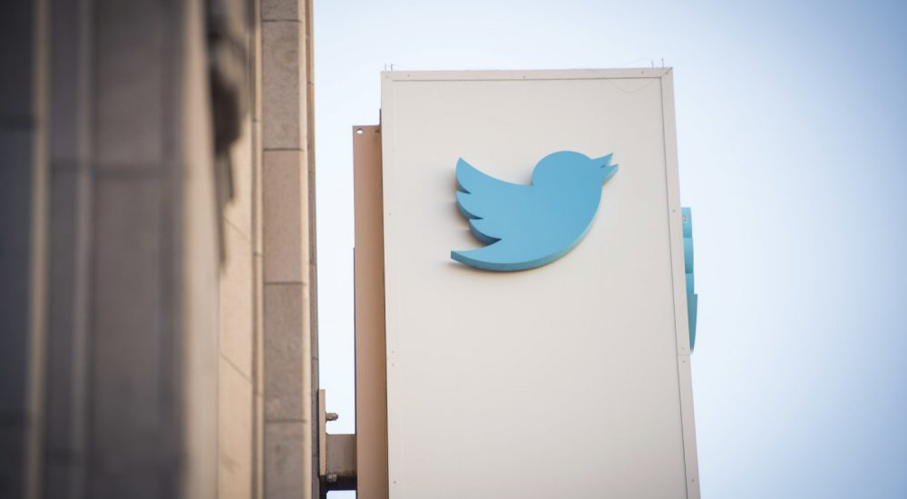 The Twitter Inc. logo is displayed outside the company's headquarters in San Francisco, California, U.S., on Thursday, Feb. 8, 2018. Twitter Inc. soared the most since its market debut in 2013 after it posted the first revenue growth in four quarters, driven by improvements to its app and added video content that are persuading advertisers to boost spending on the social network. Photographer: David Paul Morris/Bloomberg via Getty Images