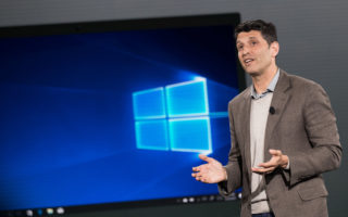 NEW YORK, NY - MAY 2: Terry Myerson, executive vice president of the Microsoft Windows and Devices Group, speaks about the new Microsoft Windows 10 S operating system during a Microsoft launch event, May 2, 2017 in New York City. The Windows 10 S operating system is geared toward the education market and is Microsoft's answer to Google's Chrome OS. (Photo by Drew Angerer/Getty Images)