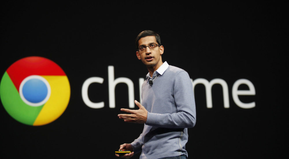 Sundar Pichai, senior vice president of Chrome, speaks at Google's annual developer conference, Google I/O, in San Francisco on June 28, 2012. AFP PHOTO/Kimihiro Hoshino        (Photo credit should read KIMIHIRO HOSHINO/AFP/GettyImages)