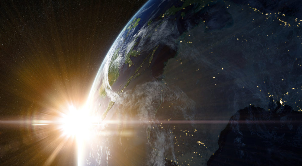 View on the night Earth with city lights. Australia and Oceania region. Elements of this image furnished by NASA. 3d illustration