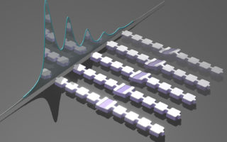 Artist's impression of an array of nanomechanical resonators designed to generate and trap sound particles, or phonons. The mechanical motions of the trapped phonons are sensed by a qubit detector, which shifts its frequency depending on the number of phonons in a resonator. Different phonon numbers are visible as distinct peaks in the qubit spectrum, which are shown schematically behind the resonators. Credit: Wentao Jiang